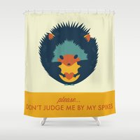 hedgehog Shower Curtains featuring Hedgehog by Ariel Wilson