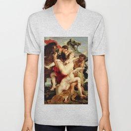 Peter Paul Rubens- The Rape of the Daughters of Leucippus Unisex V-Neck