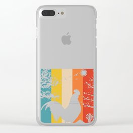 Retro Chicken product Gift Funny Vintage Chicken design Clear iPhone Case