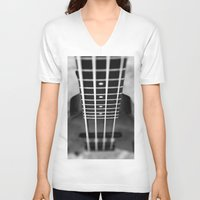 bass V-neck T-shirts featuring bass guitar by Falko Follert Art-FF77