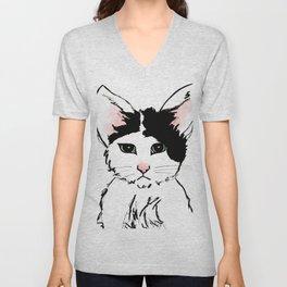 Sadface Cat Sketch Unisex V-Neck