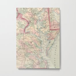 Vintage Map of The Chesapeake Bay (1875) Metal Print