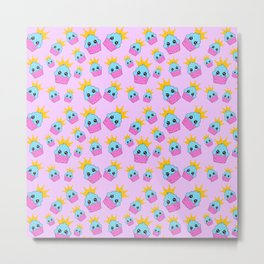 cute blue and pink cupcakes with golden crown baby junior pattern design Metal Print