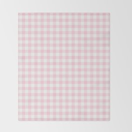 Light Soft Pastel Pink Cowgirl Buffalo Check Plaid Throw Blanket