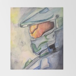 Halo gaming watercolor design Throw Blanket