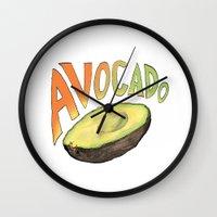 avocado Wall Clocks featuring Avocado by Ken Coleman