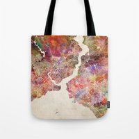 istanbul Tote Bags featuring Istanbul by MapMapMaps.Watercolors