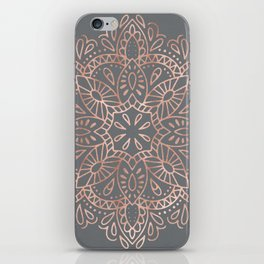 Mandala Rose Gold Pink Shimmer on Soft Gray by Nature Magick iPhone Skin