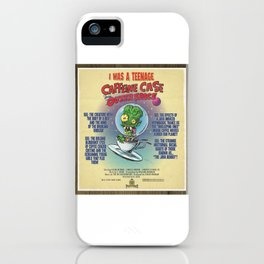 """""""I Was A Teenage Caffeine Case From Outer Space"""" Movie Poster iPhone Case"""