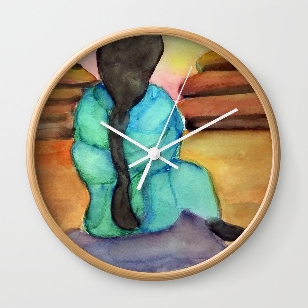 Woman Sitting On Rock Wall Clock by Desertsart CLK8442675