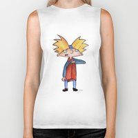 hey arnold Biker Tanks featuring Hey Arnold!  by laura nye.