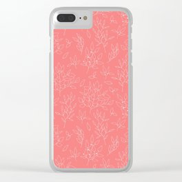 Coral white hand painted girly floral Clear iPhone Case