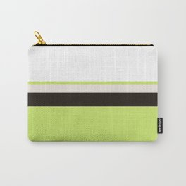 Modern Lime Green Color Block Gray Stripes White Carry-All Pouch