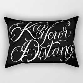 Black Background Calligraphy Tattoo Lettering Chicano Keep Your Distance Script Rectangular Pillow