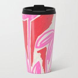 Red and Pink Sketchbook Botanical Travel Mug