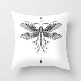 Dragon Fly Tattoo Black and White Throw Pillow