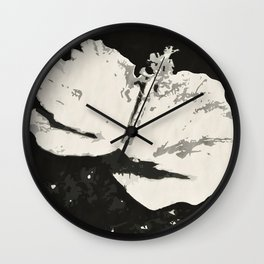 Posterized Black and White Flower Wall Clock