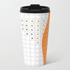 Orange and White Wavy Geometric Dot and Triangle Metal Travel Mug