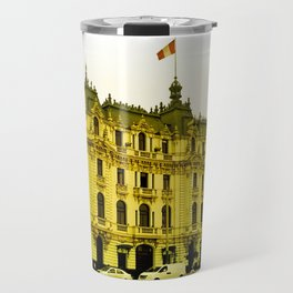 A yellow center Travel Mug