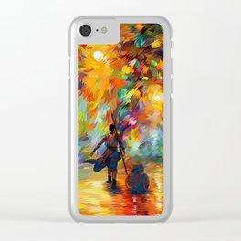 The girl with droid abstract iPhone 4 4s 5 5c 6 7, pillow case, mugs and tshirt Clear iPhone Case