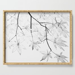 black and white maple leaves Serving Tray