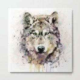 Wolf Head Watercolor Portrait Metal Print