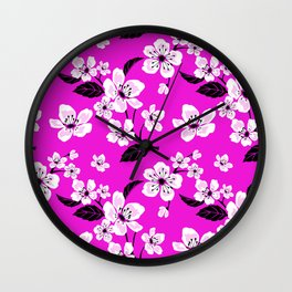 Light Purple & White Sakura Cherry Tree Flower Blooms on Dark Fuchsia Purple Hawaiian Floral Pattern Wall Clock