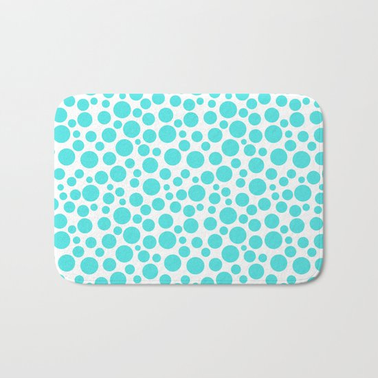 Turquoise polka dots on a white background . Bath Mat