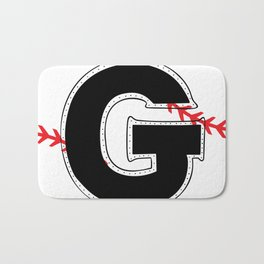 Baseball Monogram G Initial Bath Mat