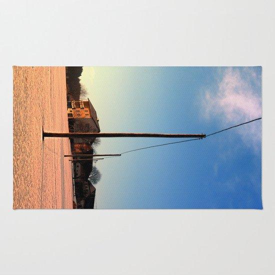 Powerline, sundown and winter wonderland | landscape photography Rug