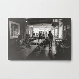 London Cafe. || London Feeling. || Black and Whit. || UK. || Freelance. Metal Print