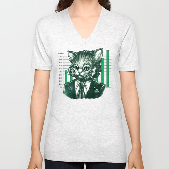 Blue Tooth Cat Deals in Trillions Unisex V-Neck