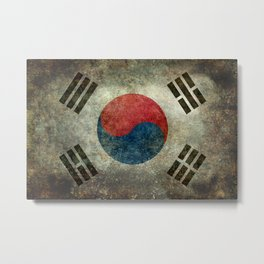 National flag of South Korea, officially the Republic of Korea, Vintage version to scale Metal Print