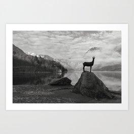 Deer statue.Bohinj Lake, Slovenia. Triglav national park Art Print