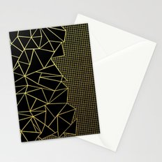 Abstract Outline Grid Gold Stationery Cards
