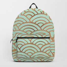 Japanese Seigaiha Wave – Mint & Copper Palette Backpack