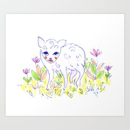 Curly Baby Deer Art Print