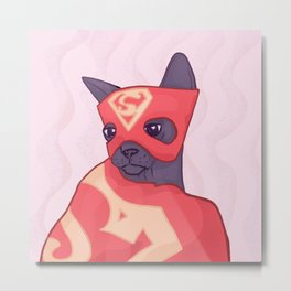 Superhero Cat - A Kitty Wearing a Red Cape and Mask Metal Print