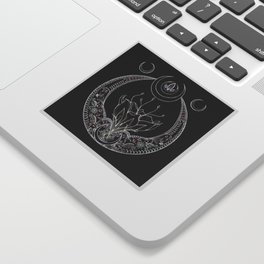 Moon Flower at Midnight in Black and Color Sticker
