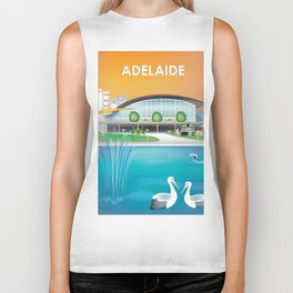 Adelaide, Australia - Skyline Illustration by Loose Petals Biker Tank