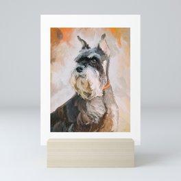 Mini Schnauzer in Autumn Dog Portrait Painting Mini Art Print