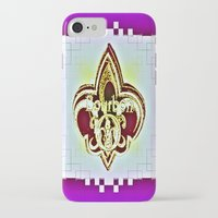 fleur de lis iPhone & iPod Cases featuring Fleur De Lis Purple  by Tina Vaughn