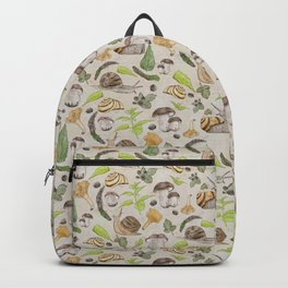 Woodland Snail in Watercolor Fungi Forest, Moss Green and Ochre Earth Animal Pattern Backpack