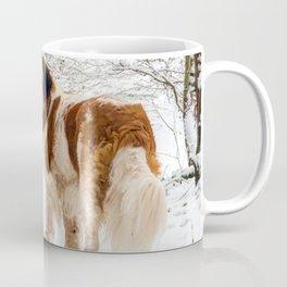 St Bernard dog in the snow Coffee Mug