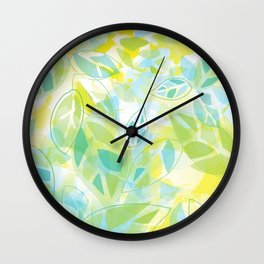 watercolor inspired leaves, spring palette Wall Clock