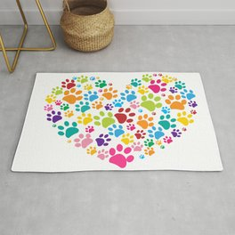 Dog paw print made of heart Rug