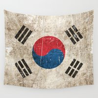 korean Wall Tapestries featuring Vintage Aged and Scratched South Korean Flag by Jeff Bartels