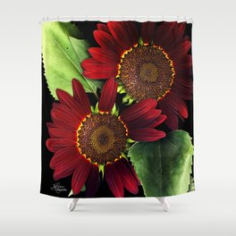 Fire Ring Sunflowers, Flower Scanography Shower Curtain