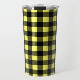 Plaid (Black & Yellow Pattern) Travel Mug
