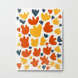 Heart Flowers Yellow Orange Blue Abstract Art Pattern Metal Print